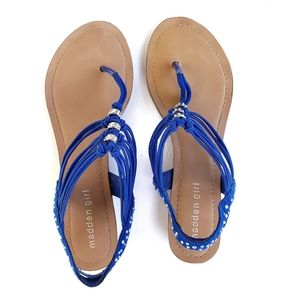 MADDEN GIRL Blue Thrill Embellished Sandals 8M